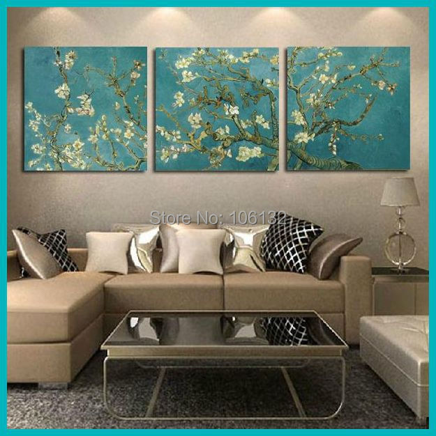 Framed 3 panel canvas art van gogh painting reproductions flowers wall pictures for living room home decor a0706 in painting calligraphy from home