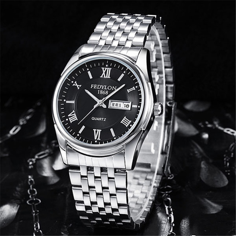 Fedylon أزياء رجالي ساعات العلامة التجارية الفاخرة الفولاذ المقاوم للصدأ تاريخ اليوم للماء الأعمال ساعة كوارتز ساعة اليد Montre أوم