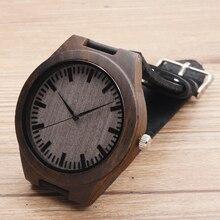 Bobobird Ретро Бамбук Деревянные Часы Luxulry Марка Дизайнер Часы Кожаный Ремешок Кварцевые Часы для Мужчин