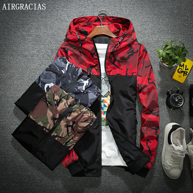 AIRGRACIAS Autumn Men s Camouflage Bomber Jacket Men Outwear Clothing  Patchwork Jackets Lightweight Coat Pockets Casual Coats b2adf90c62