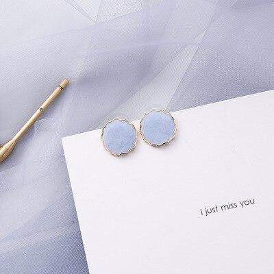 AOMU coréen bleu géométrique acrylique irrégulière cercle creux carré balancent des boucles d'oreilles pour les femmes en métal bosse fête plage bijoux 7