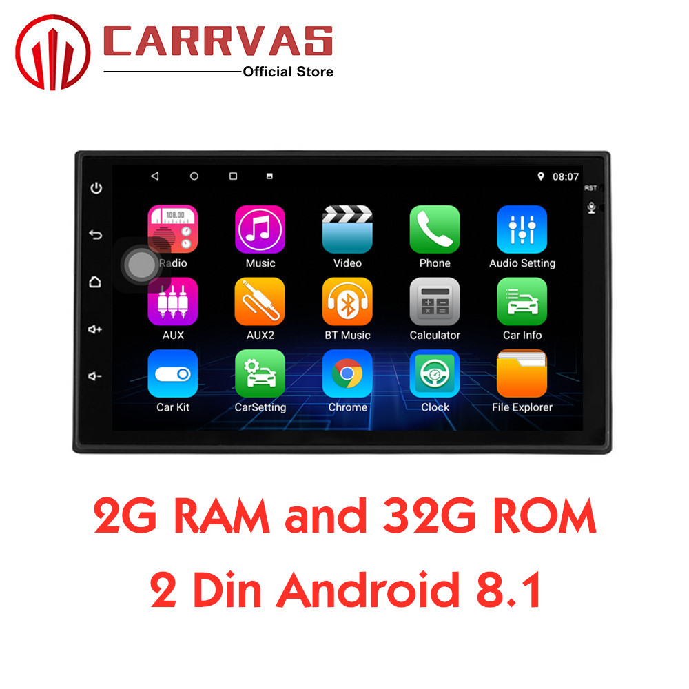 CARRVAS 2 Din 2G RAM 32G ROM Android 8.1 GPS Navigator Autoradio Estéreo Do Carro 1080P Quad Core áudio de Rádio Unidade de Cabeça Android WI-FI