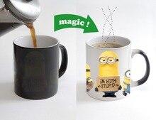 Despicable me minions tazas de café tazas de transformación de Calor Sensible taza caliente frío calor cambio de color taza mágica cerveza leche té tazas