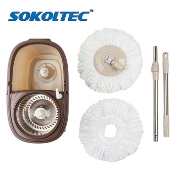 SOKOLTEC Mop With Wheel Spin Noozle Wash Floors Cloth Cleaning Home Head Mop For Cleaning Floors Windows House Cleaning Broom