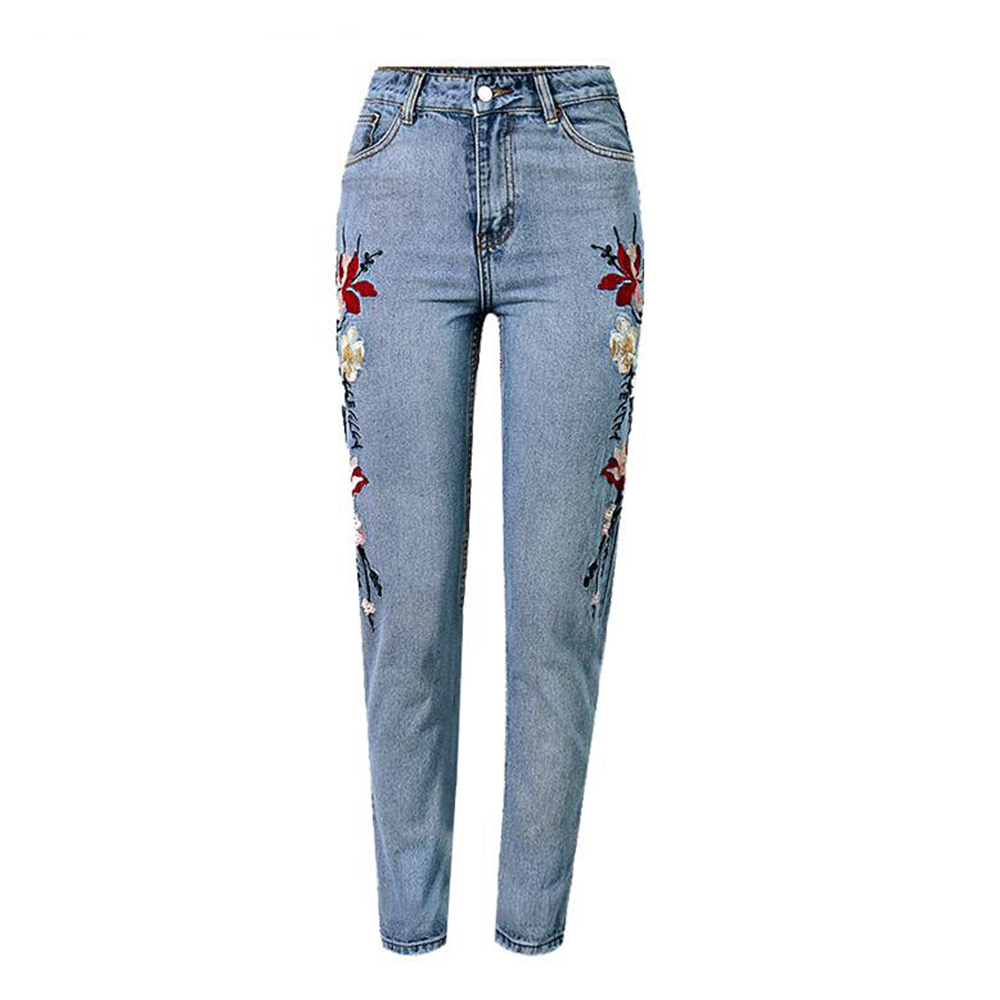 Spring Summer Women Bottom Jeans Flower Embroidery Jeans Female High Waist Jeans Pants flower embroidery jeans female blue casual pants capris 2017 spring summer pockets straight jeans women bottom a46