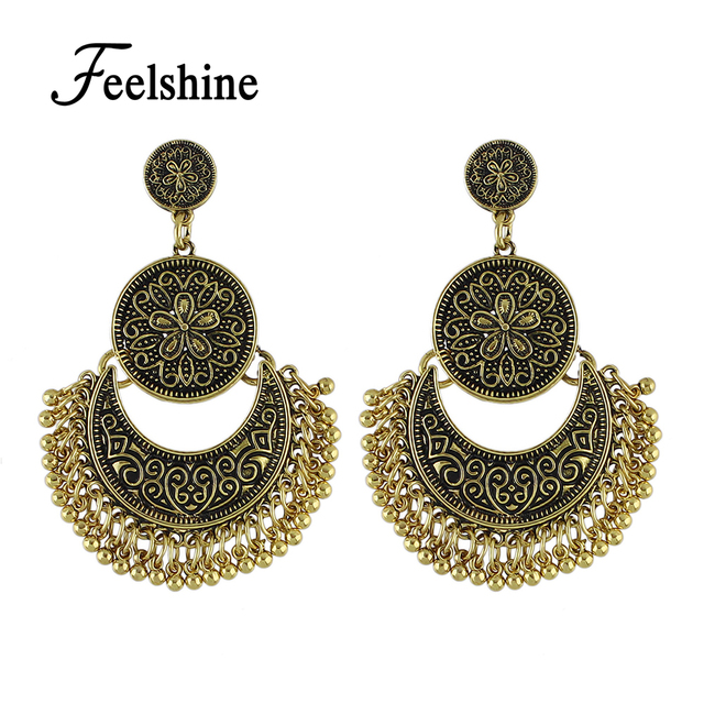 Feelshine Retro Style Ethnic Chandelier Earrings Antique Gold Silver Color With Geometric Flower Statement For
