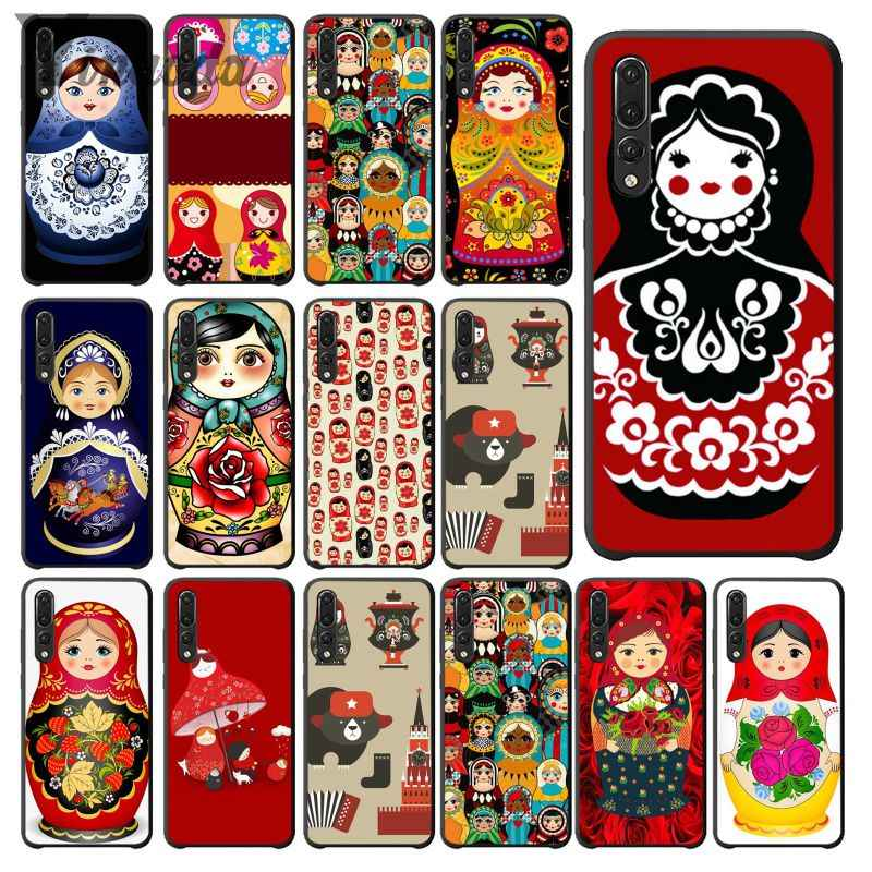 Yinuoda Russian matryoshka Dolls TPU black Phone Case Cover Shell for Haiwei P10 plus Honor 9 10 View 10 Mate 9 Coque Shell