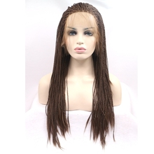 JOY&BEAUTY hair brown braiding wig Straight natural micro braided lace front wig 26 inch heat resistant fiber for woman