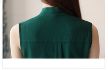 New 2018 Summer Sleeveless Elegant Chiffon Women Blouses Solid Casual Fashion Top Vest Korean Soft Female Clothing Shirt 0234 40