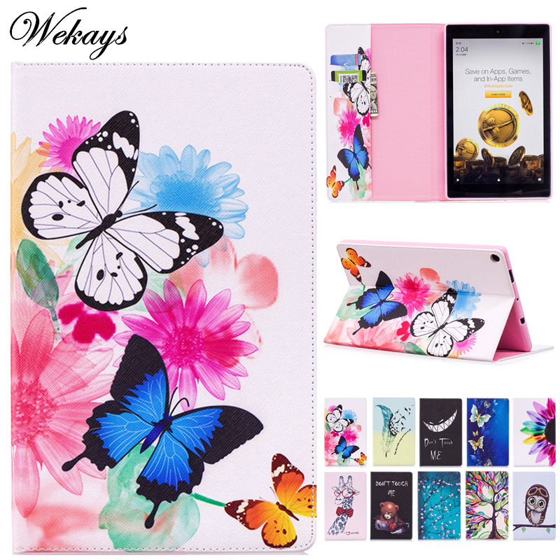 Wekays For Amazon Kindle Fire HD 10 2017 7th Cute Cartoon Butterfly Leather Case For Amazon Fire HD10 2015 5th Tablet Cover Case for amazon 2017 new kindle fire hd 8 armor shockproof hybrid heavy duty protective stand cover case for kindle fire hd8 2017
