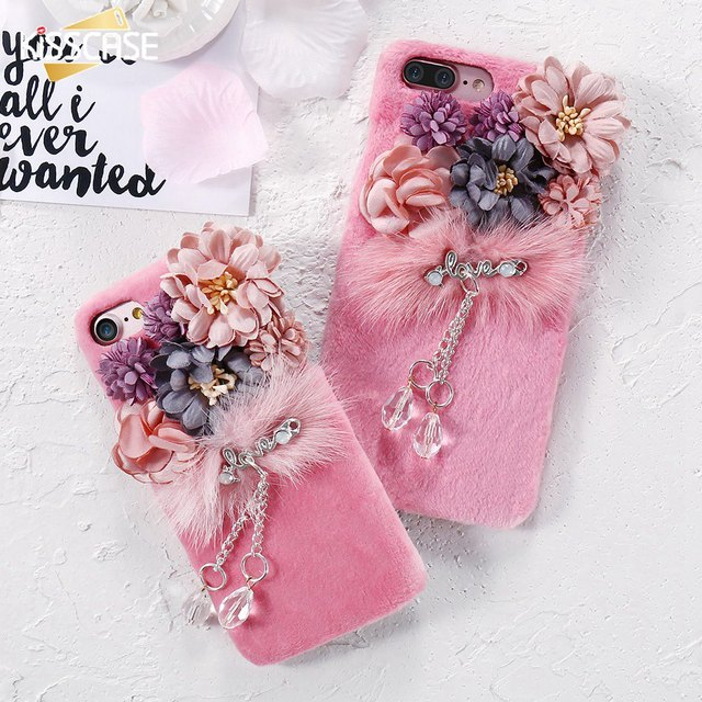 the best attitude e5ffc af7ce US $5.99 25% OFF|KISSCASE Luxury 3D Flowers Fur Cases Cover For iPhone 7  7Plus Phone Cases Lovely Korean Back Cover For Apple iPhone 6 6S Plus-in ...