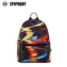 Epiphqny бренд Dream Черный Рюкзак Красочные 3D печати Уход за кожей лица сумка для подростка АБСТРАКТНЫЕ ПОЛОСЫ ранец ПУ Водонепроницаемый