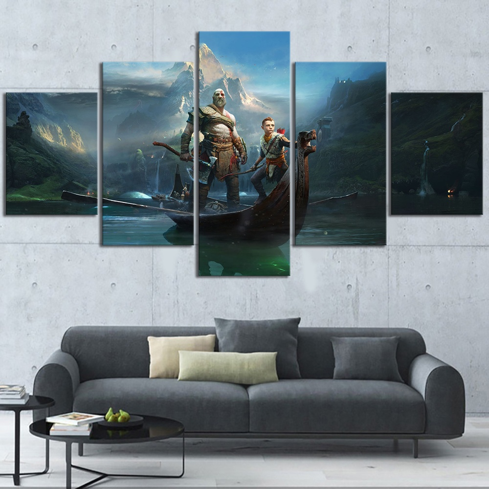 5 Piece HD God of War Kratos Game Poster HD Pictures Decorative Paintings for Living Room Decor Wall Art