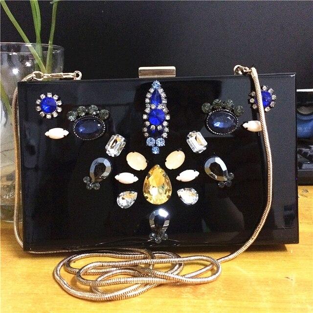a2ae10779c Célèbre Marque Designer Femmes Embrayage Sac À Main Éclat Diamant Habillé  Boîte Minaudière Sacs Femmes Chaînes