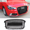 High quality A1 RS1 Style ABS Black Painted Auto Car HoneyComb Grill Bumper Grille For Audi A1 RS1 2012-2014