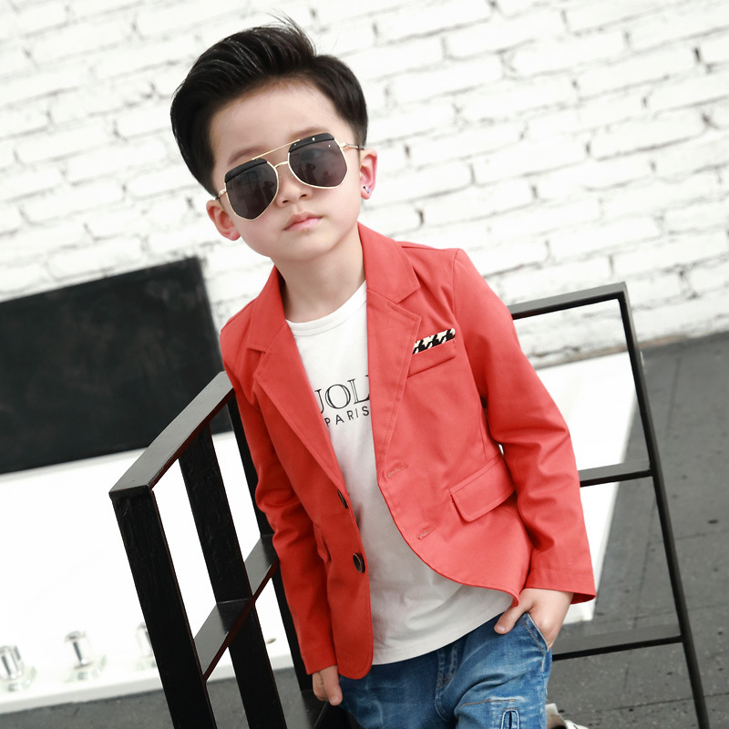 Fahion jacket for boy Black Orange Red Two Button Children Casual Blazer School Boys Formal Suit Jackets Kids Coat boys outwear