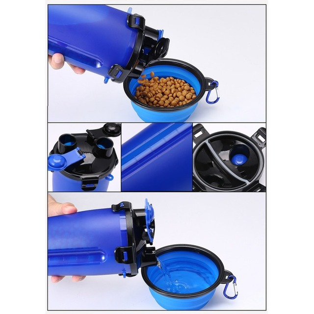 2 In 1 250ML Dogs Cats Feeding Feeder 350ML Dog Drinking Water Bottle Outdoor Travel Dual Purpose Food Storage Brings Two Bowls 3