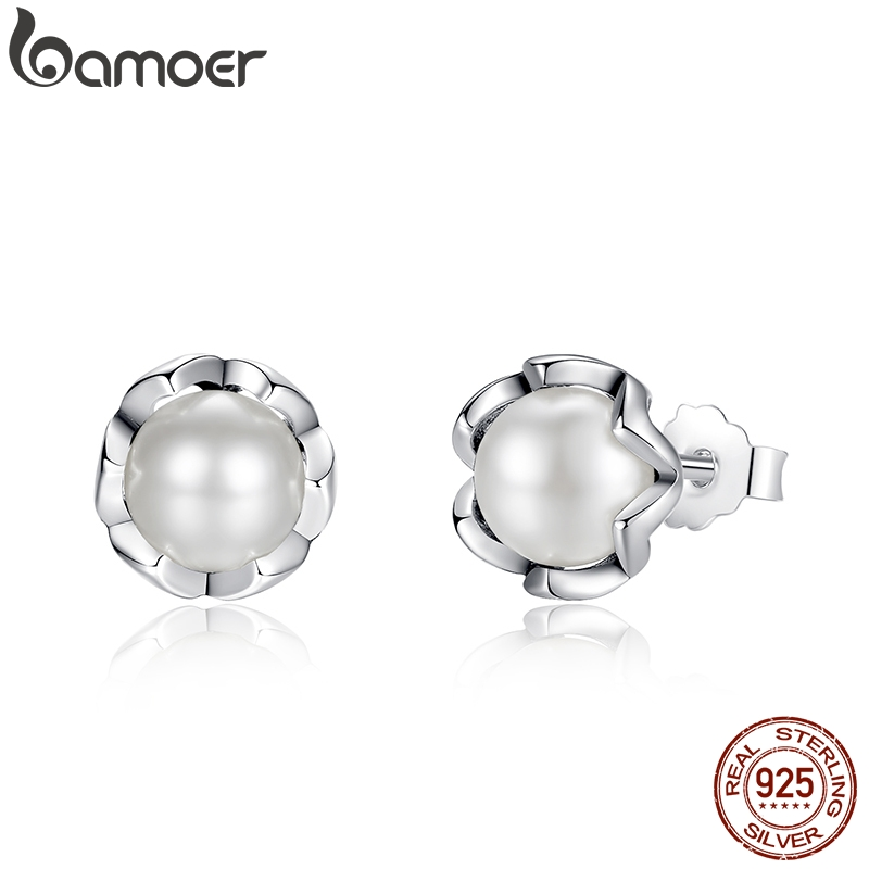 BAMOER 925 Sterling Silver Cultured Elegance Stud Earrings With White Fresh Water Cultured Pearl Sterling Silver Jewelry PAS420BAMOER 925 Sterling Silver Cultured Elegance Stud Earrings With White Fresh Water Cultured Pearl Sterling Silver Jewelry PAS420