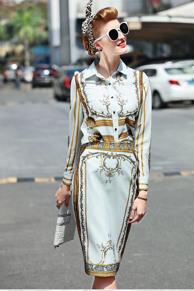 Designer Runway Suit Set Women's Sets Long Sleeve Shirt Tops + Print Skirt suit 2 Two piece set 4