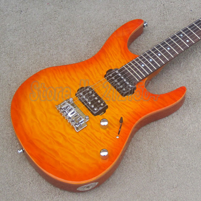 Hot Sell Electric Guitar Mahogany Solid Body Amber Burst Top Chinese