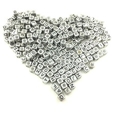 500Pcs Mixed Letters Square Cube Smooth Acrylic Spacer Beads Jewelry Making 6x6mm, Silver Tone/Black