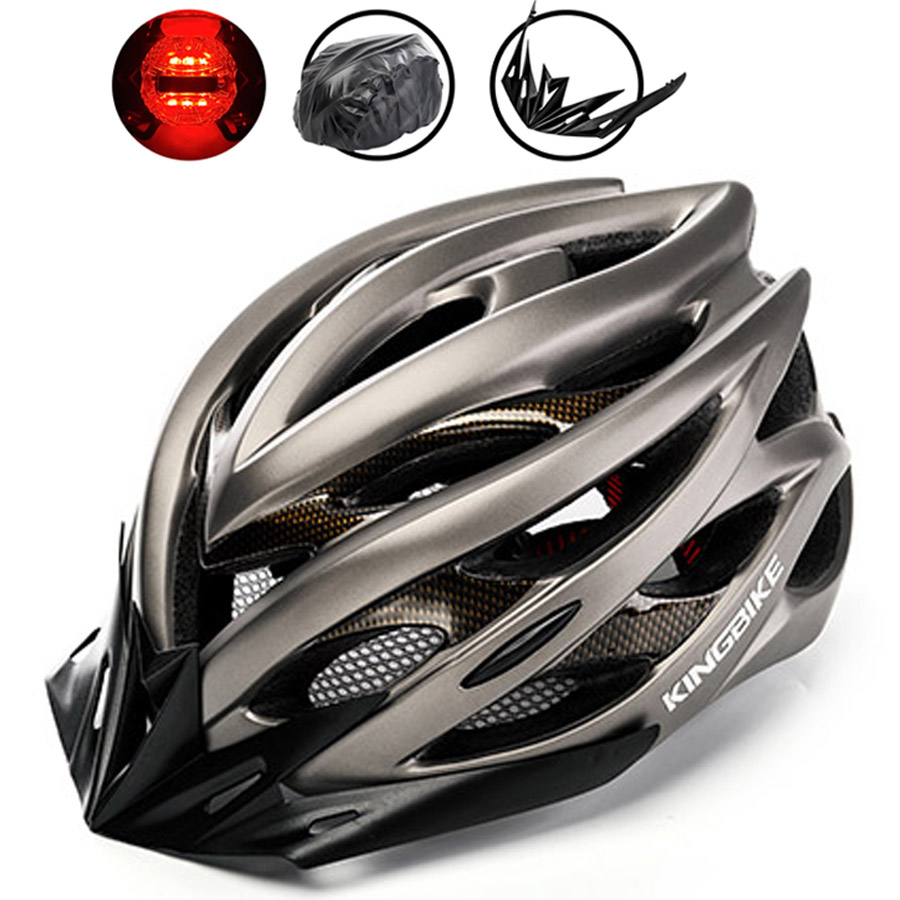 BASECAMP Bicycle Helmet Titanium Ultralight In-mold Cycling Helmet MTB With Visor & Taillights Road Mountain Bike Helmet 56-63cm