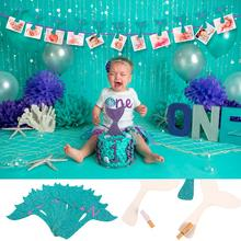FENGRISE Litter Mermaid Garland Happy Birthday Banner Balloon Flags Animal Baby Decoration For One Baner Fanion