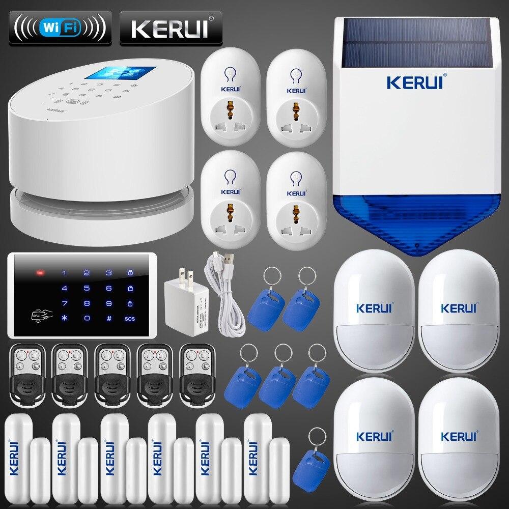 KERUI WiFi GSM PSTN home burglar font b Security b font Alarm System Wireless solar outdoor