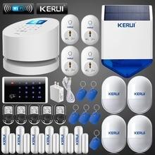 KERUI WiFi GSM PSTN Sistema de Alarma de ladrón del hogar de Seguridad + solar Inalámbrica para exteriores sirena estroboscópica + 6 puerta abierta recordar sensor + RFID teclado