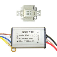 10W Square Base UV Ultravioled 365nm LED diodes Light Parts + AC 85~265V Waterproof LED driver