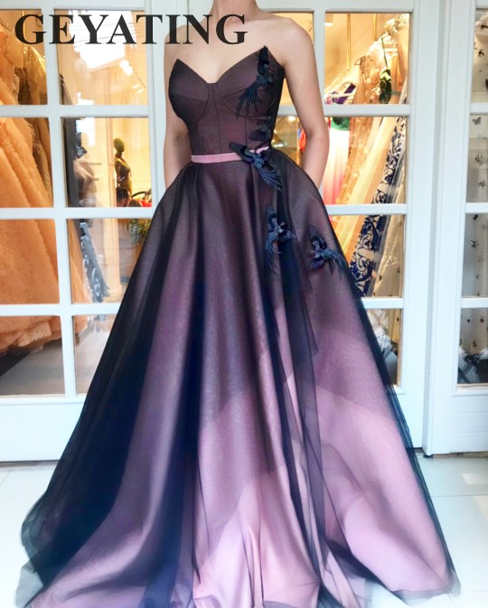 Vintage Black And Pink Prom Dress 2018 Long Sweetheart A Line Lace