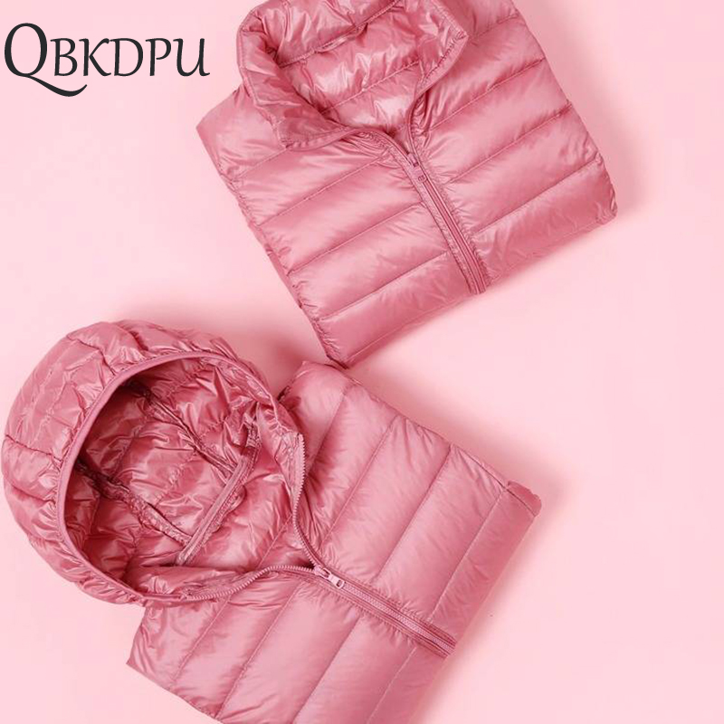 Women Winter Casual Down Jacket Plus Size Slim Ultra-light Coat 2019 Autumn Fashion Thin Warm Windproof Parka Pink For Girls