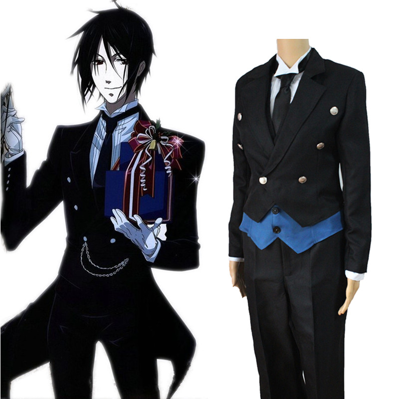 Anime Black Butler Sebastian Michaelis uniforme Costume Cosplay ensemble complet smoking (veste + gilet + chemise + pantalon + cravate + gants)