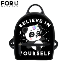 купить Cute Panda Unicorn Print PU Leather Backpack for Women Tote Satchel School Bag Teenage Girls Mini Travel Waterproof Daypack 2019 по цене 1171.71 рублей
