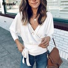 Missufe التفاف مثير البلوزات قمصان الأبيض V Necn طويل كم ضمادة الخريف محبوك أعلى قميص الشارع الشهير عارضة بلوزة الإناث