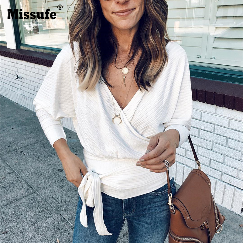 Missufe Wrap Sexy   Blouses     Shirts   Women White V Necn Long Sleeve Bandage Autumn Knitted Top   Shirt   Streetwear Casual   Blouse   Female