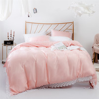 King Size Bedding Set Luxury Duvet Cover Sets Tencel Cotton Material Smooth Bed Set with Lace Edge Solid Pink Luxury Bedding
