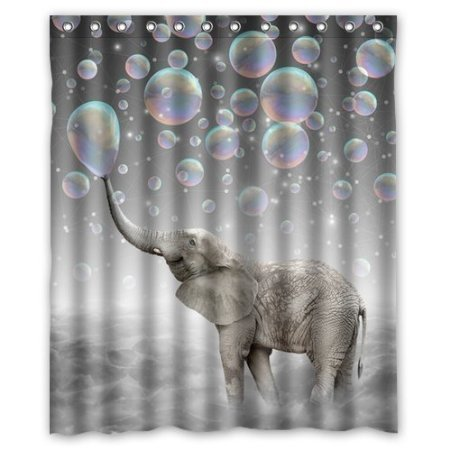 Cute Animal Elephant Bubbles 160x180cm Waterproof Shower Curtain Home Bathroom Curtains New