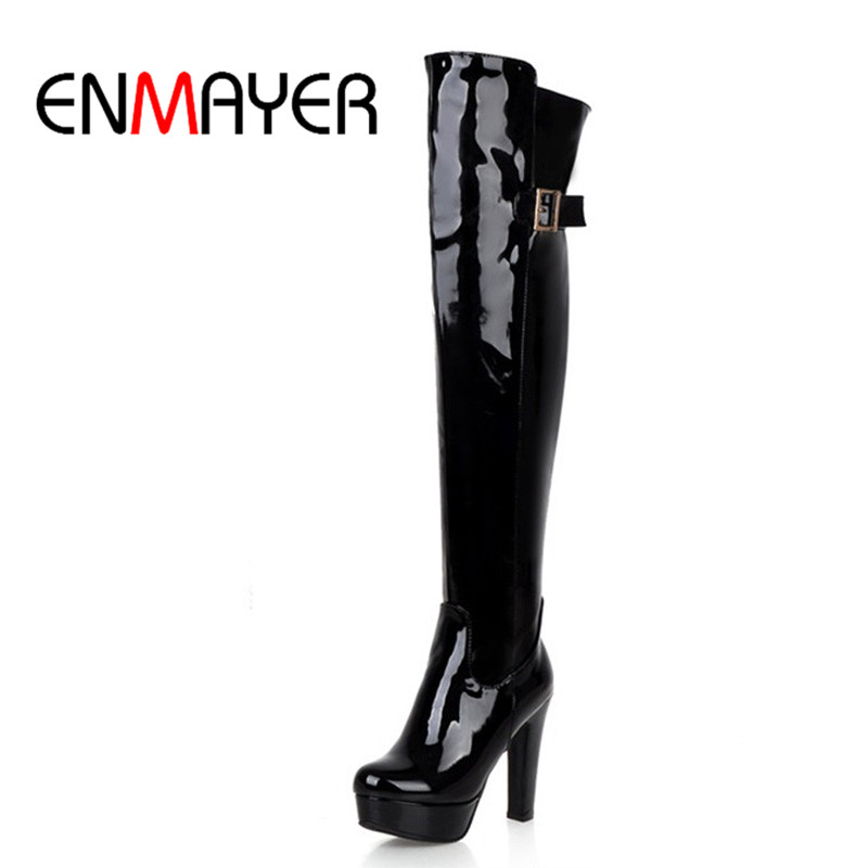 ENMAYER Sexy Knee High Boots Women Zippers Buckle Think Platform Winter Shoes With fur Snow Boots Black Red Boots Shoes Woman zippers double buckle platform mid calf boots