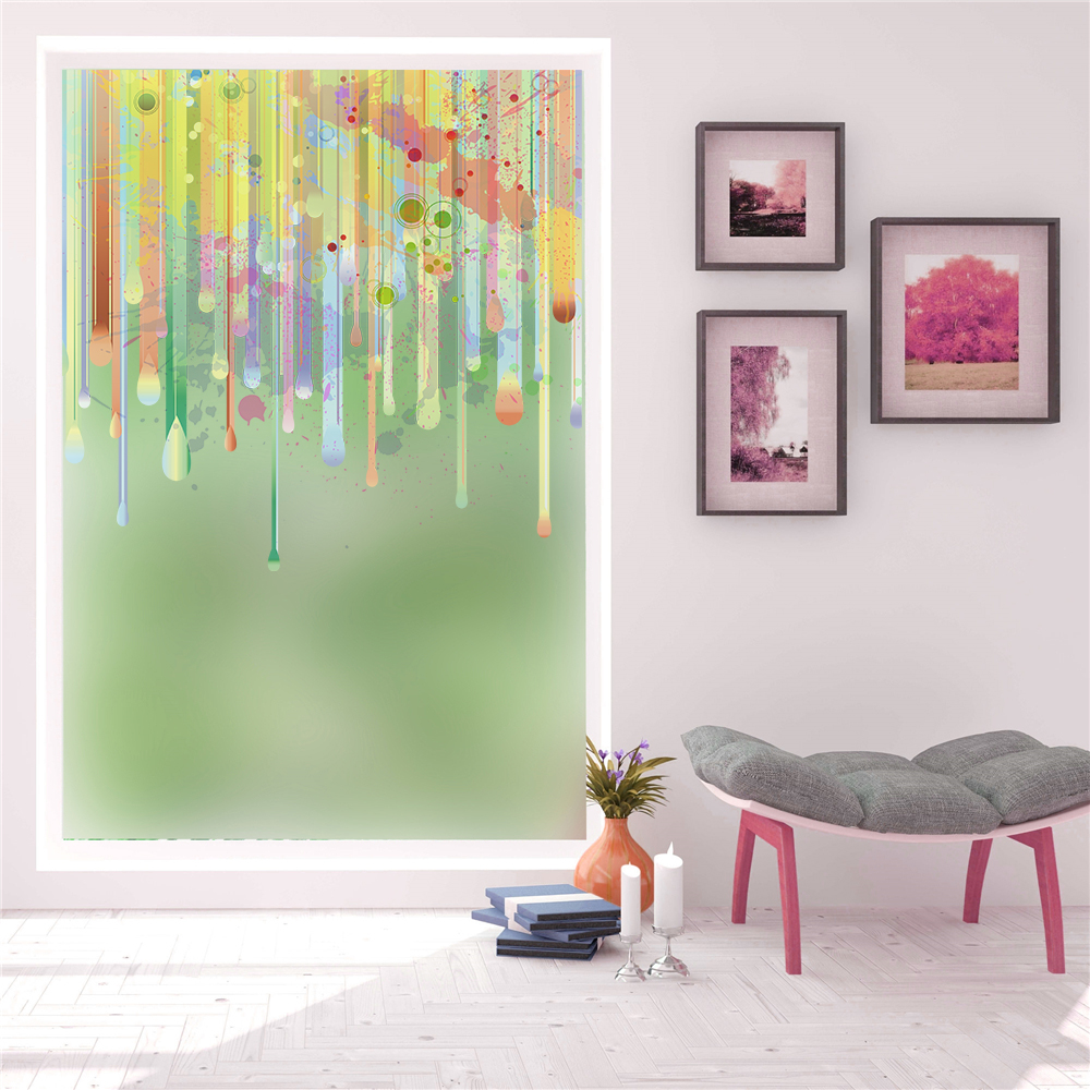 flowers Stained Glass Film Decor wall Sticker Home window Privacy Film Decor decal sticker Bathroom toilet door decor AA18