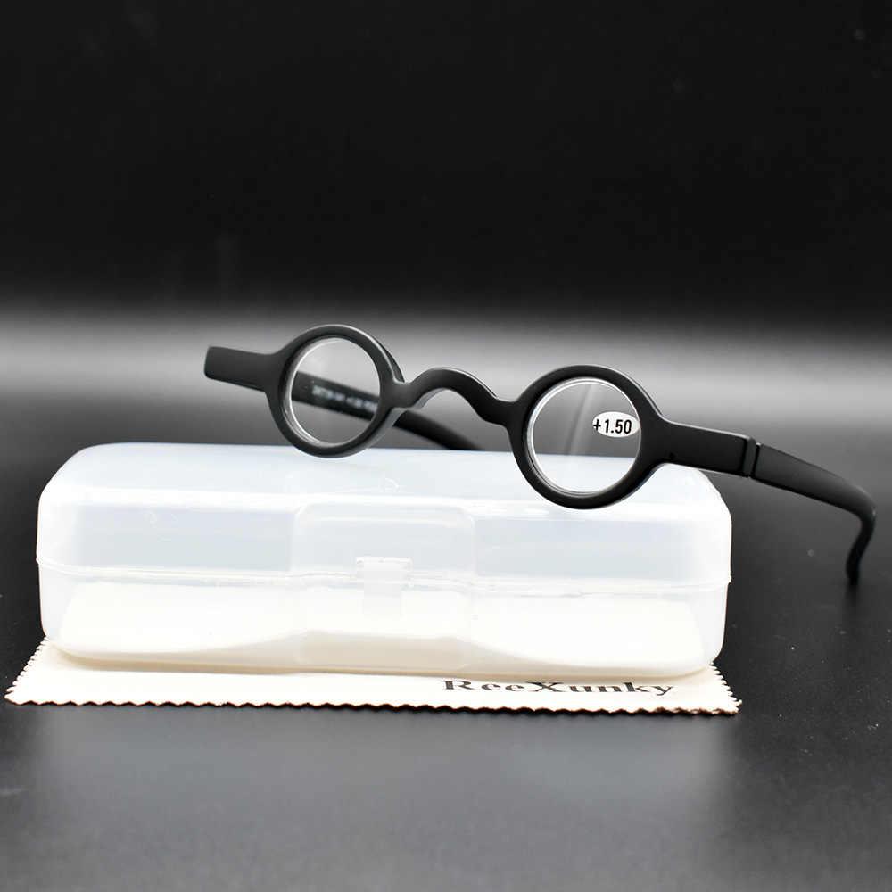 a1bfcc3679 ReeXunky Mini Round Reading Glasses Men Women Black Red TR90 Spectacles  Frame Retro Glasses Focus Magnifier