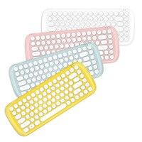 Fanshu Retro Typewriter Style Wireless 84 Keys Keyboard Keypad Key Board with Cute Mouse for PC Desktop Laptop Home Office