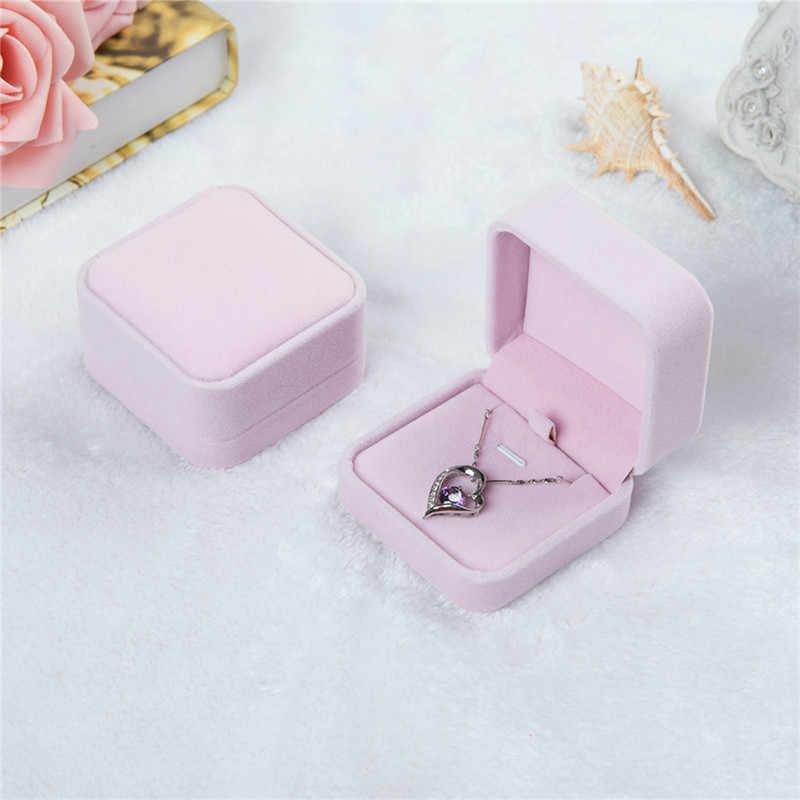 נייד חמוד מתנת תכשיטי קופסות אריזה נשים בנות שרשרת תליון קטיפה תצוגת אחסון אירוסין חתונה תיקי נשיאה