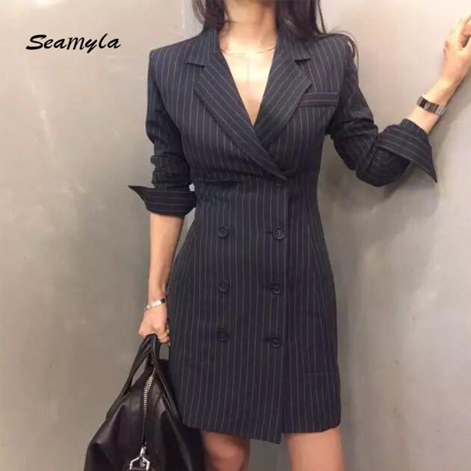 Seamyla New Fashion Women Jackets Long Sleeve Slim Celebrity Blazers 2018 Blue Striped Jacket Elegant Summer Office Jacket Coat