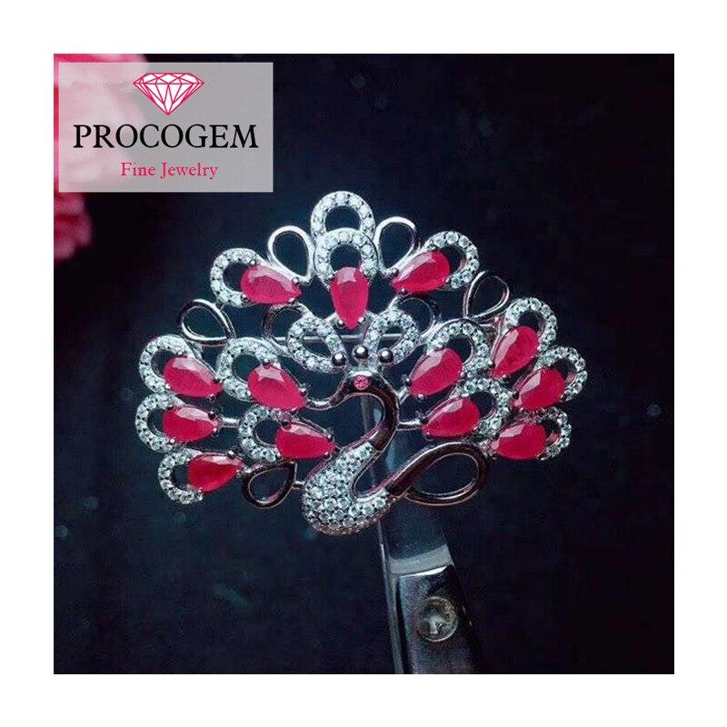 Broches de rubis de paon naturel pour la fête féminine saint valentin cadeaux goutte d'eau véritable pierre gemme fine bijoux 925 argent Sterling 329