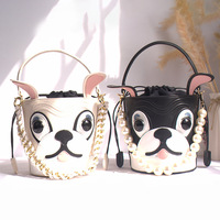 Summer Penguin Pug Dog Panelled Bucket Bag Pearl Chain Decoration Hand Bag Shoulder Bag for Women