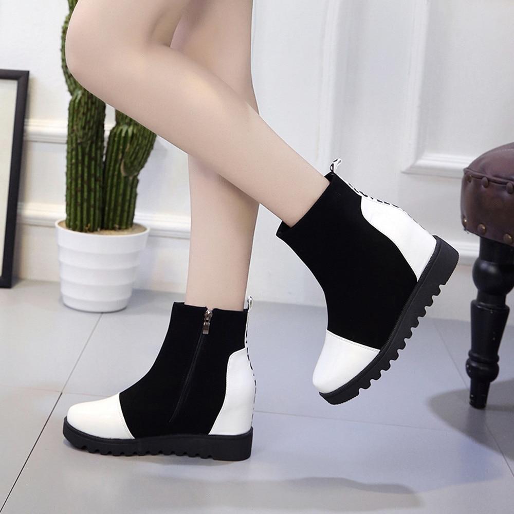 2018 Botas Color Mujeres Cremallera Pie Mantener Dedo Sólido Cuero Llegada Zapatos De Del blanco 09 Nueva Rojo Caliente Nieve Las Redondo Cuñas rwIZtprq