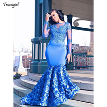 Royal Blue Mermaid Prom Dresses 2019 New Long Sleeve Beading Lace 3D Flower Applique Formal Evening Party Gowns