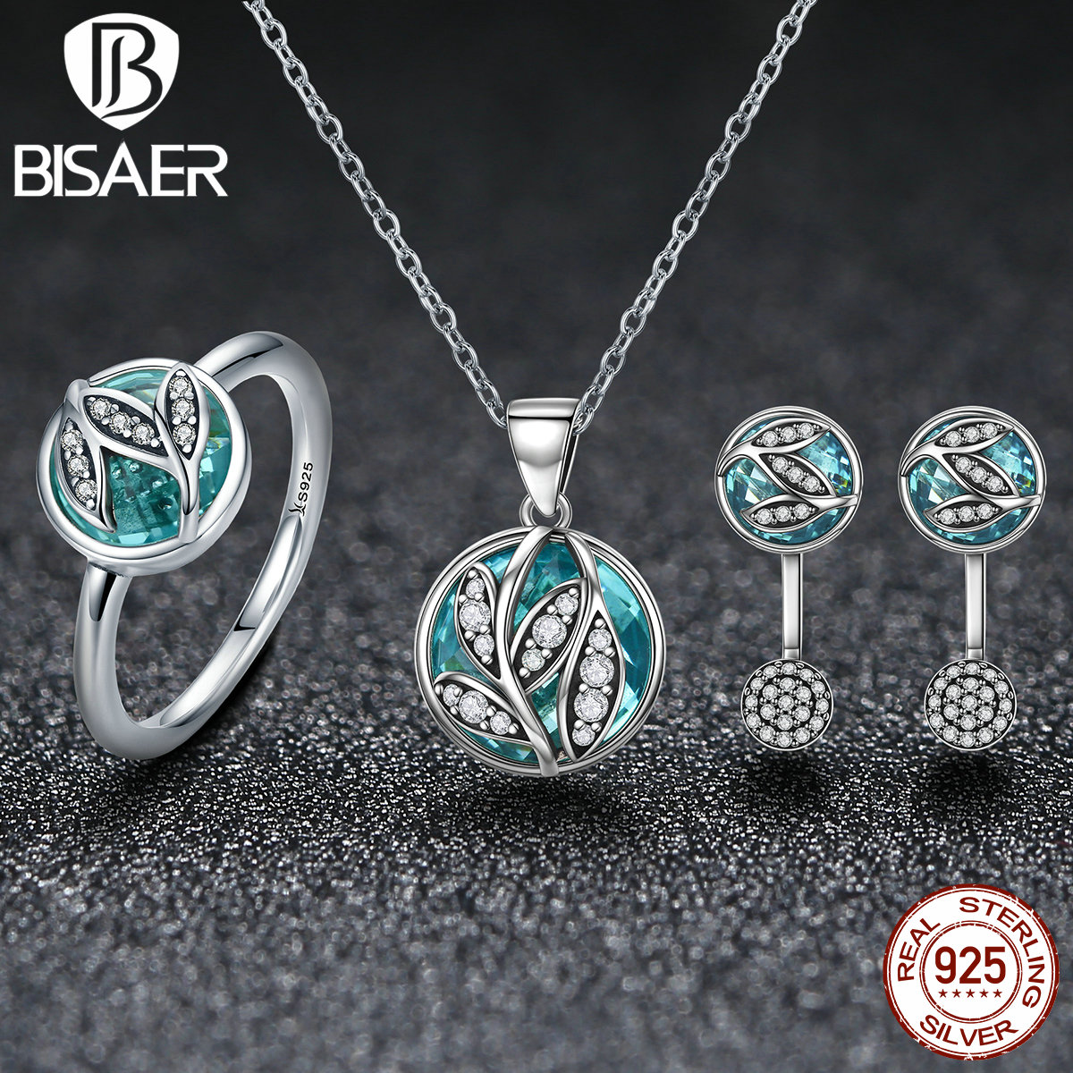 925 Sterling Silver High Quality Transparent Glass Jewelry Set Lovely Leaves Necklace/Earrings/Ring Women Fashion Jewelry Sets925 Sterling Silver High Quality Transparent Glass Jewelry Set Lovely Leaves Necklace/Earrings/Ring Women Fashion Jewelry Sets