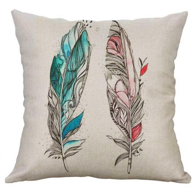 goose down pillow feathers natural printed linen fabric green leaves